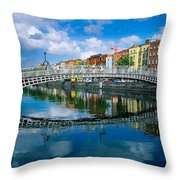 Hapenny Bridge, River Liffey, Dublin Throw Pillow