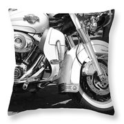 White Harley Davidson Bw Throw Pillow by Stefano Senise