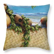 Hawaiian Still Life Panel Throw Pillow by Sandra Blazel - Printscapes