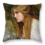 Head Of A Girl Throw Pillow