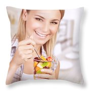 Healthy Eating Woman Throw Pillow
