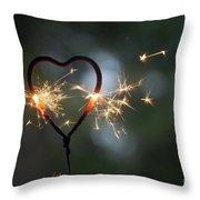 Heart Shape Sparkler Throw Pillow