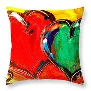 2 Hearts Throw Pillow