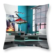 Helicopter Art Throw Pillow