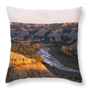 High Angle View Of A River Passing Throw Pillow