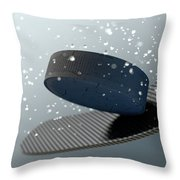 Hockey Puck Striking Stick In Slow Motion Throw Pillow