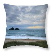 Holywell Bay Sunset Throw Pillow