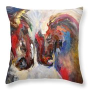 2 Horses Throw Pillow