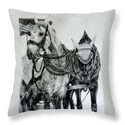 2 Horses Of Rothenburg 2000usd Throw Pillow