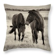Horses Of The Fall  Bw Throw Pillow