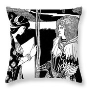 How Morgan Le Fay Gave A Shield To Sir Tristran Throw Pillow