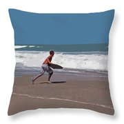 Hurricane Surf In Florida Throw Pillow