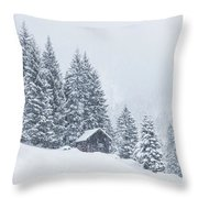 Huts And Winter Landscapes Throw Pillow