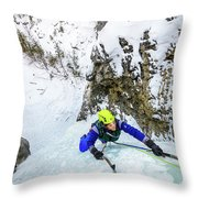 Ice Climbers On A Route Called Professor Falls Rated Wi4 In Banf Throw Pillow