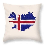 Iceland Map Art With Flag Design Throw Pillow