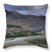 Indus River And Kargil City Leh Ladakh Jammu Kashmir India Throw Pillow