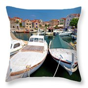 Island Of Prvic Harbor And Waterfront View In Sepurine Village Throw Pillow