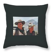 Jack Palance And Lee Marvin Monte Walsh Set Old Tucson Arizona 1969 Throw Pillow