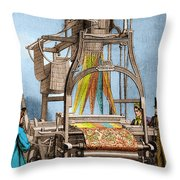 Jacquard Loom For Weaving Textiles Throw Pillow