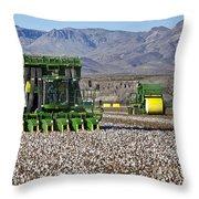John Deere Cotton Pickers Harvesting Throw Pillow