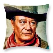 John Wayne, Hollywood Legend By John Springfield Throw Pillow