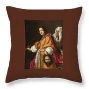Judith Holding The Head Of Holofernes Throw Pillow