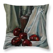 Jug With Apples Throw Pillow