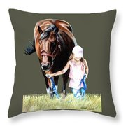 Just A Girl And Her Horse  Throw Pillow