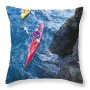 Kayaking Along Coastline Throw Pillow