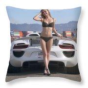#kim And #porsche #918spyder #print Throw Pillow