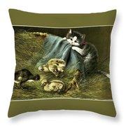Kitten Peeking In On Chicks Throw Pillow