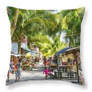 Koh Rong Island Main Village Bars In Cambodia Throw Pillow