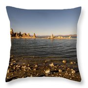 Lakefront And Sunset At Mono Lake, Eastern Sierra, California, U Throw Pillow