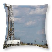 Land Oil Drilling Rig On Oilfield Throw Pillow