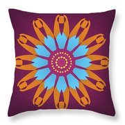 Landscape Purple Back And Abstract Orange And Blue Star Throw Pillow