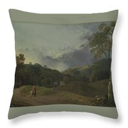 Landscape With Cottagers Throw Pillow