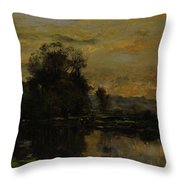 Landscape With Ducks Throw Pillow