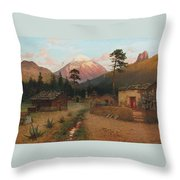 Landscape With Volcano Throw Pillow