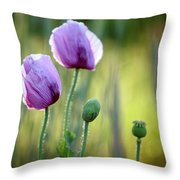 Lilac Poppy Flowers Throw Pillow