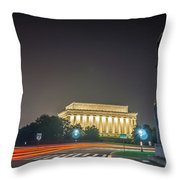Lincoln Memorial Monument With Car Trails At Night Throw Pillow