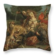 Lion Hunt Throw Pillow