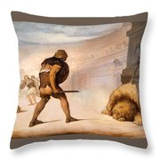 Lion In The Arena Throw Pillow