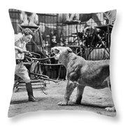 Lion Tamer, 1930s Throw Pillow