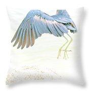 Little Blue Heron In Flight Throw Pillow