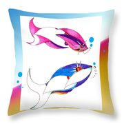 2 Little Fish Throw Pillow