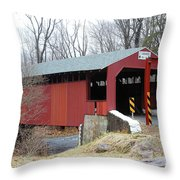 Little Gap Covered Bridge Throw Pillow
