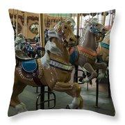 Looff Carousel Santa Cruz Boardwalk Throw Pillow