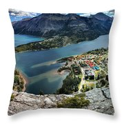Looking Down On Waterton Lakes Throw Pillow