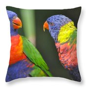 2 Lories In Discussion Throw Pillow