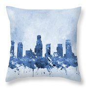 Los Angeles Skyline-blue Throw Pillow